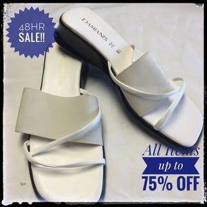 damiani Shoes - Damian White leather wedge sandals